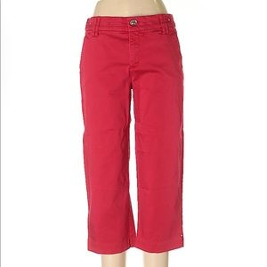 Intro. Red Comfort Waist Stretch Cropped Pants- 10